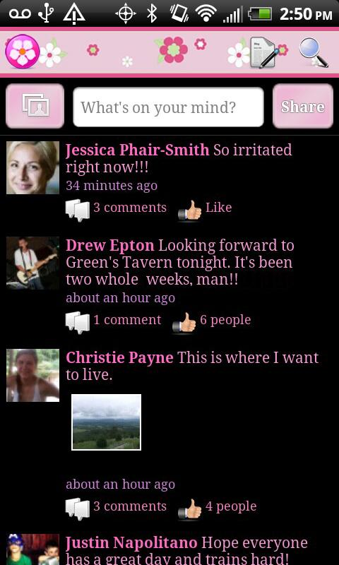 Black Pink Theme For Facebook 1 54 Screenshot 2