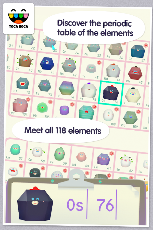 Periodic Table what is the first element of the periodic table trivia crack : Toca Lab: Elements 1.1.0-play APK + OBB (Data File) Download ...