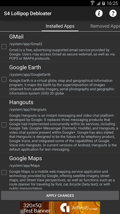 GS4 Lollipop Debloat (Root) 1 01 APK Download - Android Tools Apps