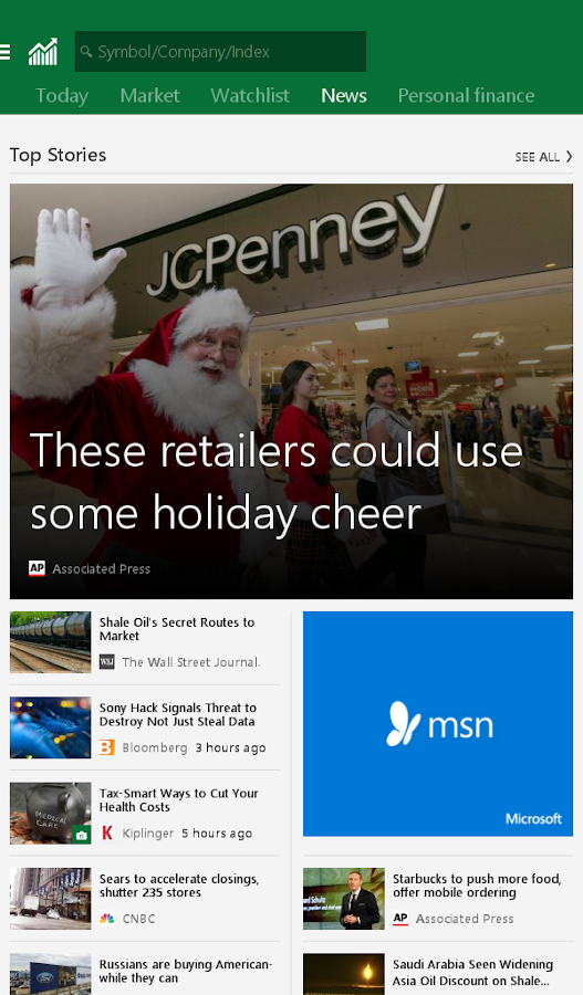 Msn Stock Quotes Adorable Msn Money Stock Quotes & News 1.2.0 Apk Download  Android