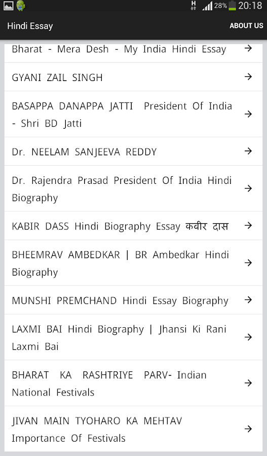 list of essays in hindi Parts of an essay — traditionally, it has been taught that a formal essay consists  of three parts: the introductory paragraph or introduction, the body paragraphs,.
