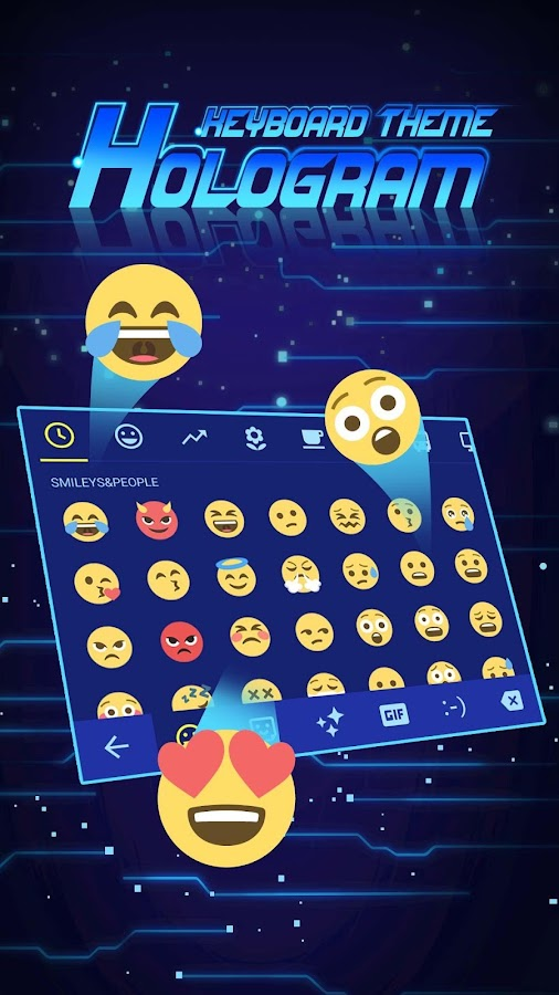 3D Hologram Neon Emoji Keyboard Theme v6 0 APK Download