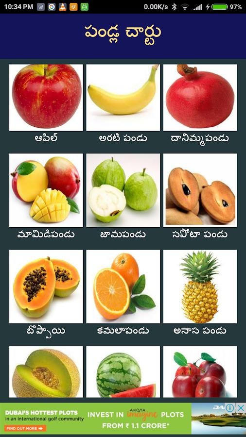 all fruits names in english to telugu pdf