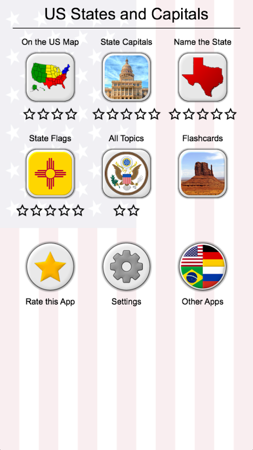 US States Map Capitals Flags American Quiz APK - Us map and capitals quiz