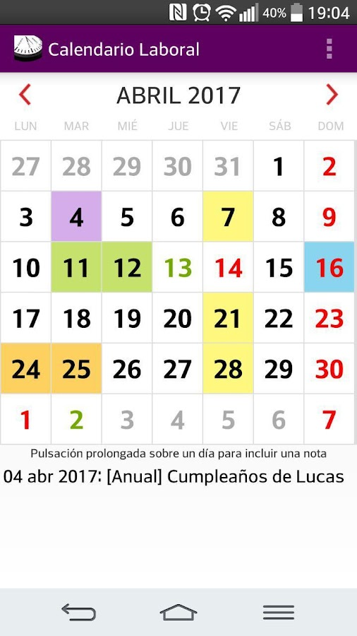 Calendario laboral espa a con festivos 2018 4 0 apk for Horario peru wellness
