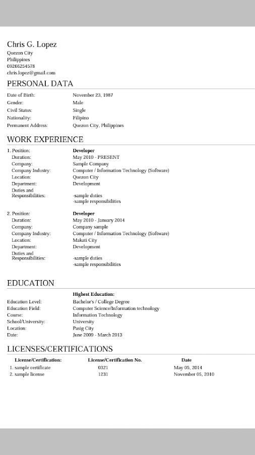 myresume resume creator 124 screenshot 4