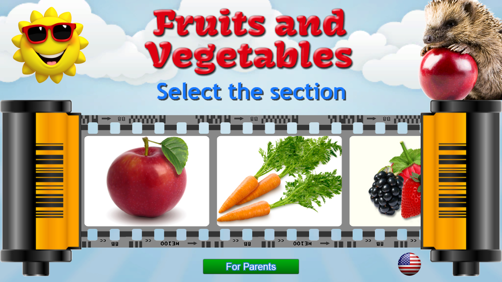 Arabic alphabet for kids with cute animals and fruit for each letter -  Fruits And Vegetables For Kids 6 5 5 Screenshot 11