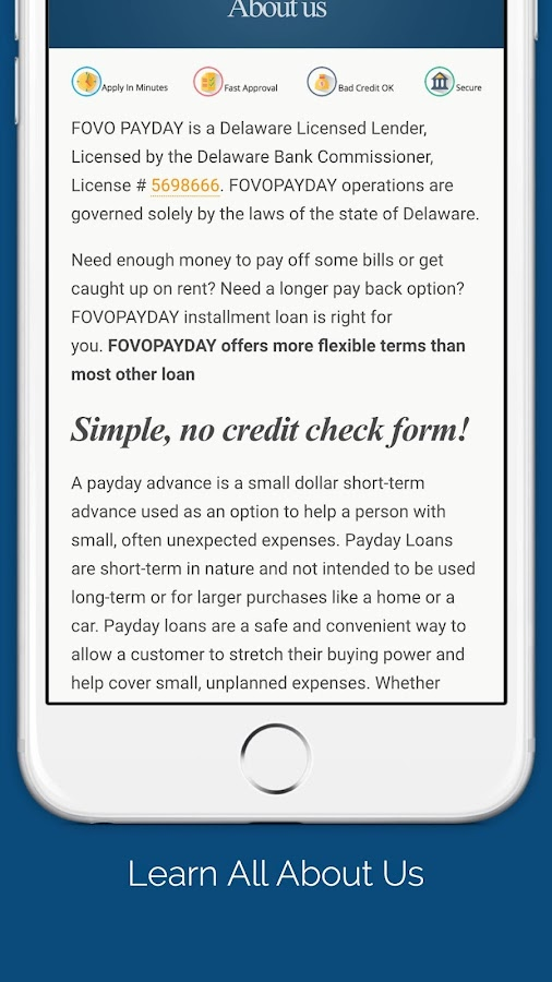 Delaware payday loan license