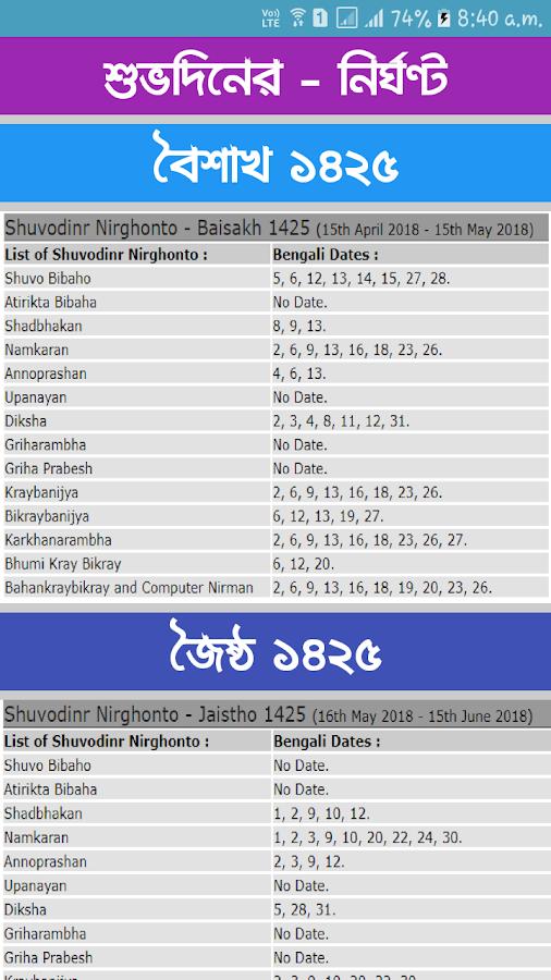 Bengali Calendar Jaistho 1426