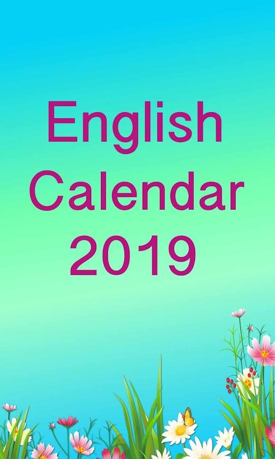 english calendar 2019 app download