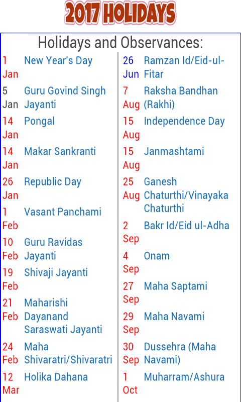 2017 Holiday Calendar India 1.4 APK Download - Android ...