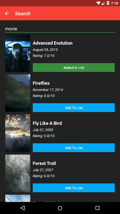 Movie listing pda