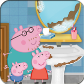 Pig Cleaning Bathroom 3