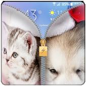 Puppy & Kitten zipper lock screen -merry christmas 1.030