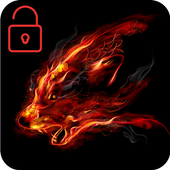 Fire Wolf Red Clock With Flame Locker Screen Theme 1.1.1