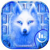 Blue Fire Flaming Ice Wolf Keyboard Theme 6.12.22.2018