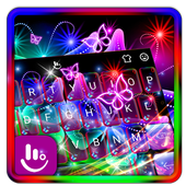 Colorful Neon Butterfly Keyboard Theme 6.11.17.2018