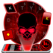 Neon Red Skull Keyboard Theme 6.7.1