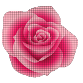 Draw Flower in Pixel art coloring by Number 2