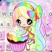 Colorful Cupcake Girl Keyboard Theme 1.0