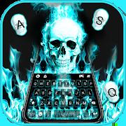 Cyan Fire Skull Keyboard Theme 1.0