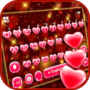 Red Heart Keyboard Theme 6.0
