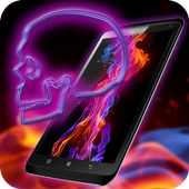 Neon Gemstone Skully HD Theme