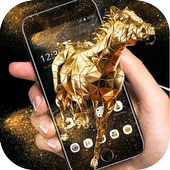 Cool Gold Horse Glass Work Theme