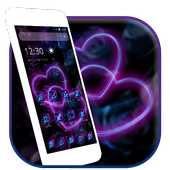 Violet Neon Black Flower 2D Theme 1.1.1