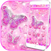 Glitter Diamond Pink Butterfly Theme 1.1.2