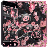 Pink and Black Flower Launcher Theme 🌸 1.1.0