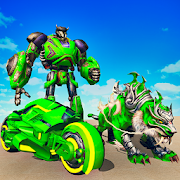 Flying Tiger Robot Attack: Flying Bike Robot Game 2.5