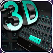 3D Black Neon Keyboard 10001004