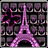 Pink Diamond Eiffel Tower Keyboard Butterfly Theme