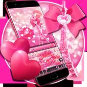 Pink glitter lovely paris keyboard 10001003