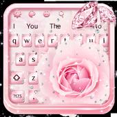 Pink Flower Diamond Keyboard Theme 10001005