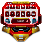 3D Red Technology Robotics Keyboard Theme 10001002