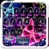 Neon shining Butterfly Keyboard Theme 10001001
