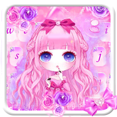 Sweet Lovely girl Keyboard Theme 10001001