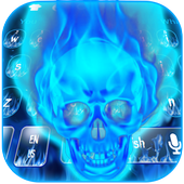 Blue Flaming Skull Keyboard Theme 10001001