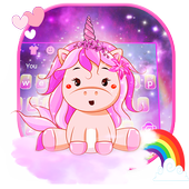 Pink Cute Unicorn Keyboard theme 10001002