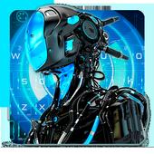 3D Neon Robot Keyboard Theme