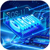 Neon Laser Circuit Keyboard Theme 10001003