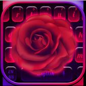 Neon Rose Love Keyboard Theme 10001003