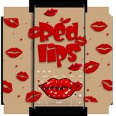 Red Kiss Lips Keyboard Theme 10001002