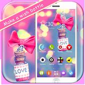 蝴蝶结粉红少女情人节浪漫爱情彩色手机主题