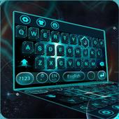 stars neon galaxy keyboard blue space tech