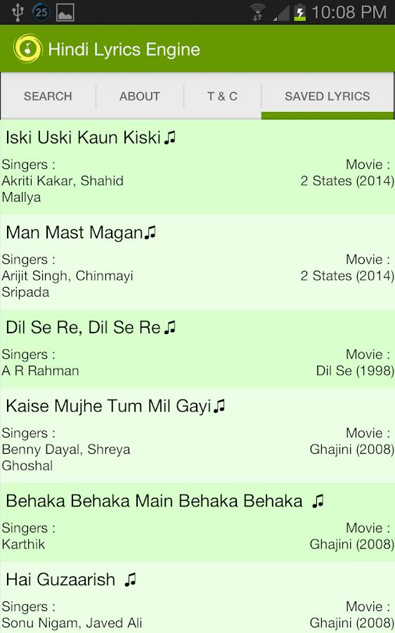 Hindi Songs Lyrics Engine 1 01 APK Download - Android Music