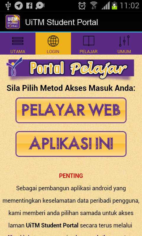 Uitm Student Portal 1 0 Apk Download Android Education Apps