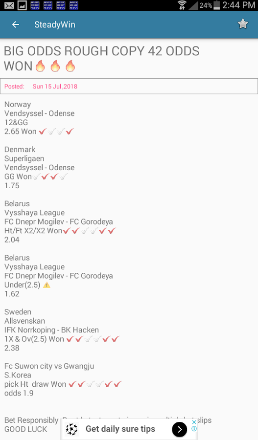 Steady Win- daily betting tips 5 0 APK Download - Android Sports Games